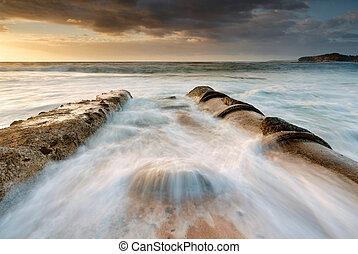 árapály, folyik, medence, tengerpart, mona, völgy
