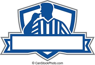 árbitro, árbitro, funcionario, silbido, retro, asimiento, ...