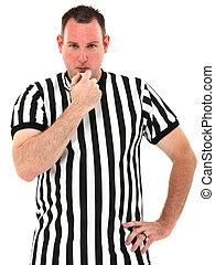 árbitro, encima, silbido, soplar, plano de fondo, blanco
