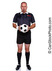 árbitro, fútbol, aislado, longitud, lleno, blanco