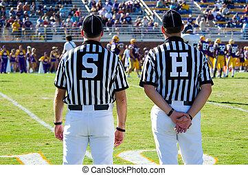 árbitro, -referees, -, fútbol americano, juego, funcionario