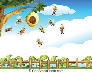 árbol, abejas, grupo, colmena