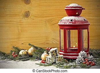 árbol abeto, navidad, linterna