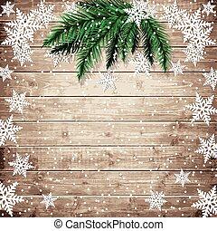 árbol abeto, ramas, y, copos de nieve, en, el, de madera,...