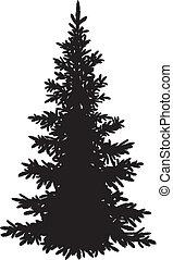 árbol abeto, silueta, navidad
