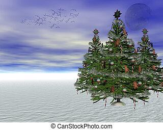 árbol, adornado, navidad, copyspace.