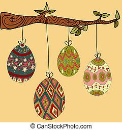 árbol, ahorcadura, huevos de pascua