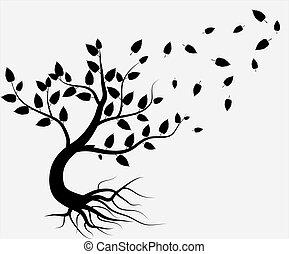 árbol, aislado, vector, fondo negro, blanco, entero, raíces
