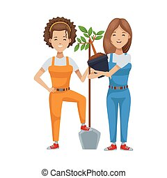 árbol, ambientalista, mujeres, plantación, caracteres