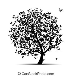 árbol, arte, silueta, su, negro