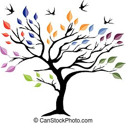 árbol, aves