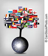 árbol, banderas, con, globo de la tierra