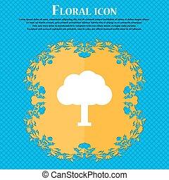 árbol, bosque, ., floral, plano, diseño, en, un, azul, resumen, plano de fondo, con, lugar, para, su, text., vector