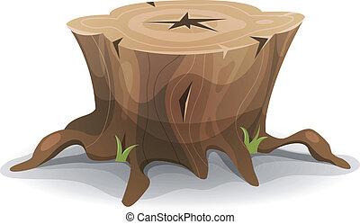 árbol, cómico, tocón