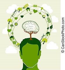 árbol, cabeza, ideas, verde, concepto