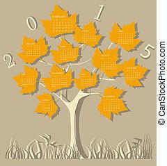 árbol, calendario, para, 2015, año, en, leav