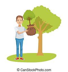 árbol, carácter, ambientalista, plantación, hombre