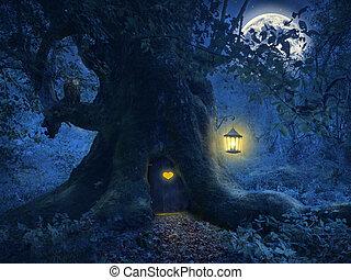 árbol casero, en, el, magia, bosque