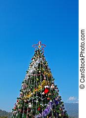 árbol, cielo, ornamentos, colorido, navidad