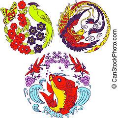 árbol, clásico, emblema, pájaro, chino
