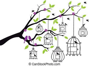 árbol, con, abierto, jaulas de pájaros, vector