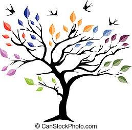 árbol, con, aves