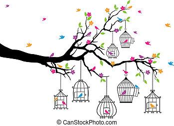 árbol, con, aves, y, jaulas de pájaros