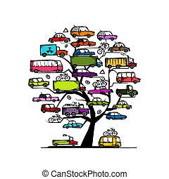 árbol, con, coches, transporte, concepto, para, su, diseño
