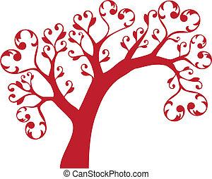 árbol, con, corazones