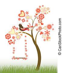 árbol, con, corazones, y, flores, y, un
