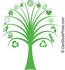 árbol, con, ecología, símbolos
