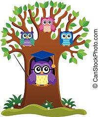 árbol, con, estilizado, escuela, búho