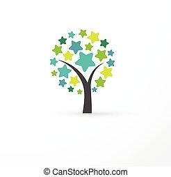 árbol, con, estrellas, -, educación, aprendizaje, éxito, icono
