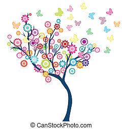 árbol, con, flores, y, mariposas