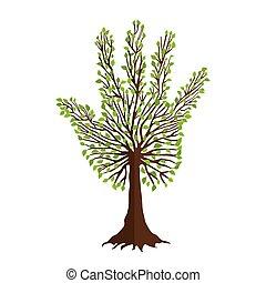 árbol, con, hoja, mano, forma, para, naturaleza, ayuda, equipo