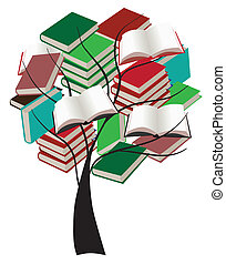 árbol, con, libros