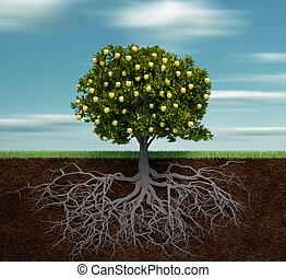 árbol, con, manzana dorada