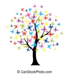 árbol, con, mariposas, verano