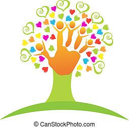 árbol, con, niños, manos, logotipo