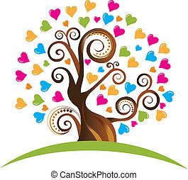 árbol, con, ornamentos, y, corazones, logotipo