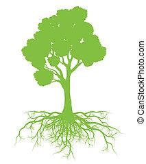 árbol, con, raíces, plano de fondo, ecología, vector,...