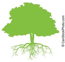 árbol, con, raíces, plano de fondo, ecología, vector