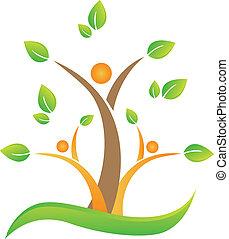 árbol, con, resumen, gente, logotipo