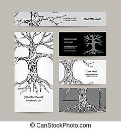 árbol, con, roots., tarjetas comerciales, diseño