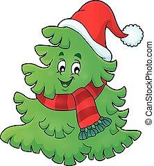 árbol, con, sombrero de navidad, tema, 1