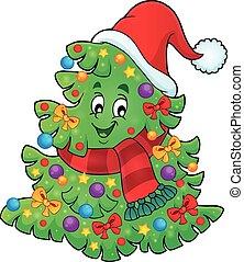 árbol, con, sombrero de navidad, tema, 2