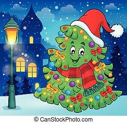 árbol, con, sombrero de navidad, tema, 3