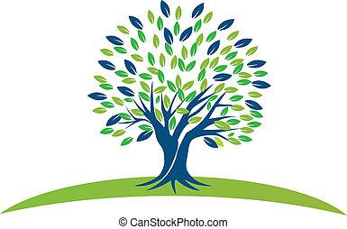 árbol, con, verde azul, leafs, logotipo