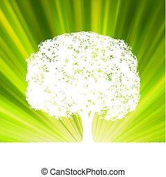 árbol, con, verde, explosión, para, su, design., eps, 8