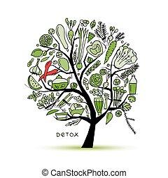 árbol, con, verde, vegetables., bosquejo, para, su, diseño